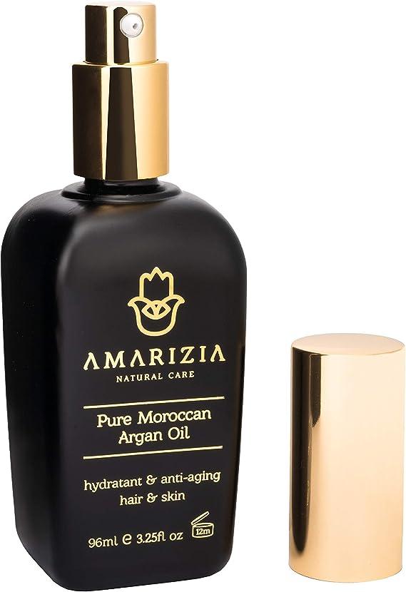 AMARIZIA Aceite de Argán Puro de Marruecos / 100% Orgánico y prensado en frío/Vegano y Cruelty-Free/Hidratante para el pelo, para la piel, cara, barba ...
