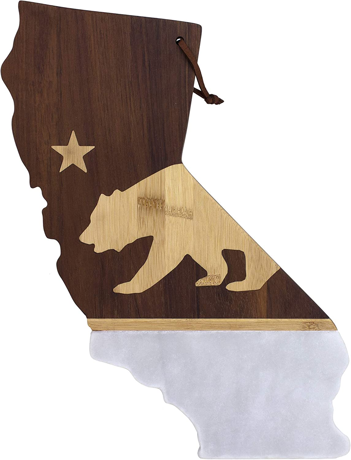 Totally Bamboo Rock & Branch Series California Republic State Shaped Serving Board