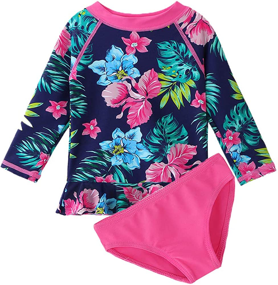 iiniim Baby Little Girls Two Piece Long Sleeve Rash Guard Swimsuit Shirt Top with Bottom Bathing Suit UPF 50+
