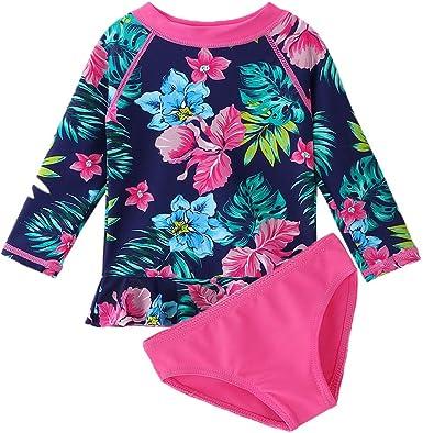 3M-9T Toddler//Baby Girls Rash Guard Swimsuit Long Sleeve 2 Piece Swim Bottoms Set UPF 50