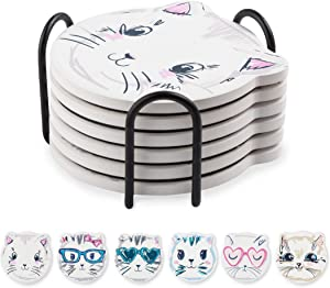 Coasters Set for Drinks, Cat Pattern Absorbent Ceramic Coasters with Metal Holder, 4 Inches, Suitable for Kinds of Cups and Mugs, Gifts for Friends, Birthday, House Decor