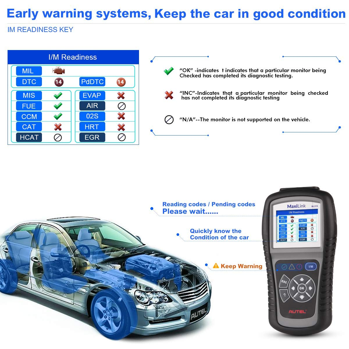 Autel MaxiLink ML519 OBDII/EOBD Scanner Enhanced OBD II Mode 6,Code Reader with The Same Function as al519 by Autel (Image #3)