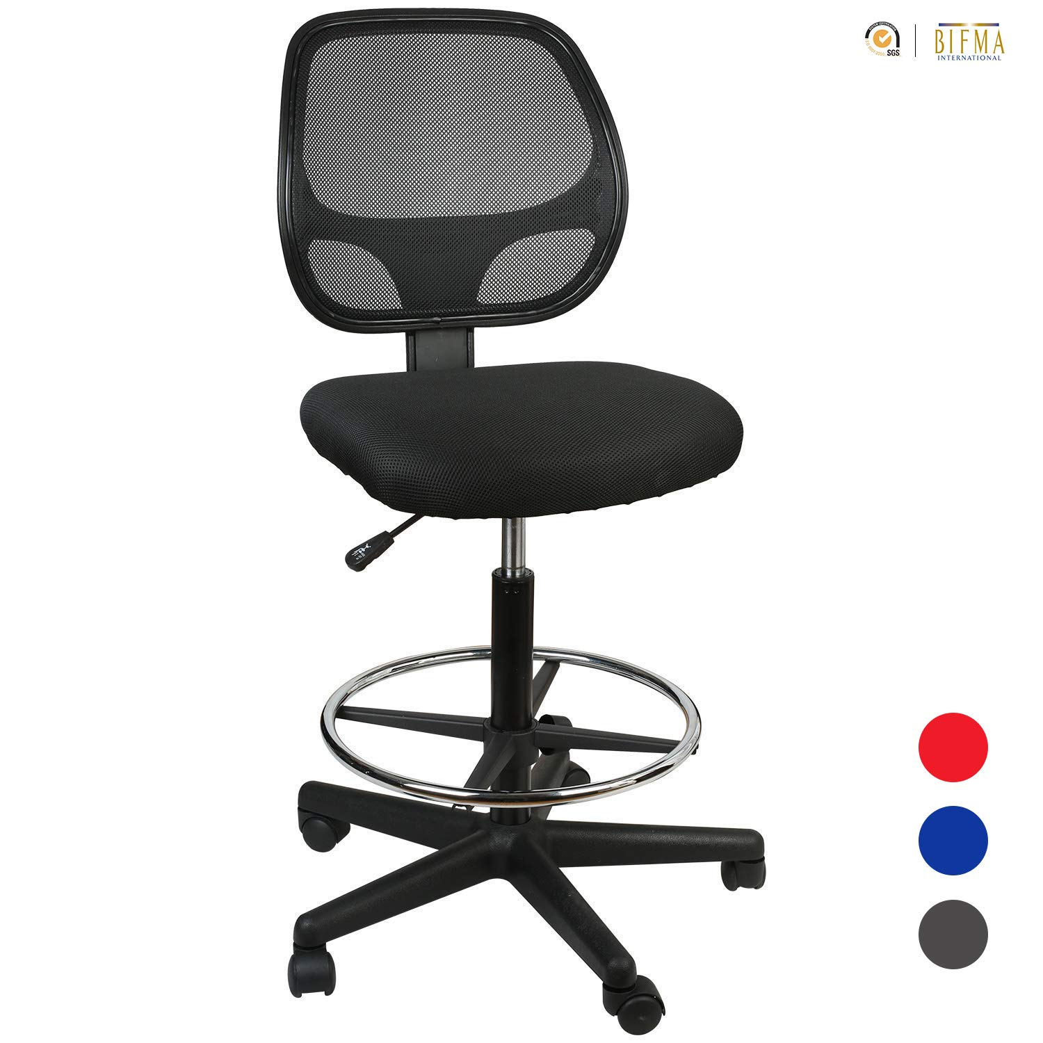 LUCKWIND Office Drafting Chair Mesh - Armless Task Ergonomic Lumbar Support MidBack Computer Desk Chair Adjustable Stool Swivel Chair with Adjustable Chrome Foot Rest (SGS-BIFMA 21-27'' Black)