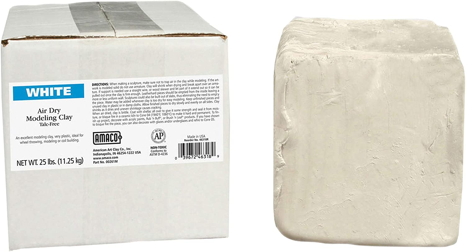 Toxic Free Self Hardening Air Dry Clay 25lb, White Self Hardening Modeling Clay Dries Over Night
