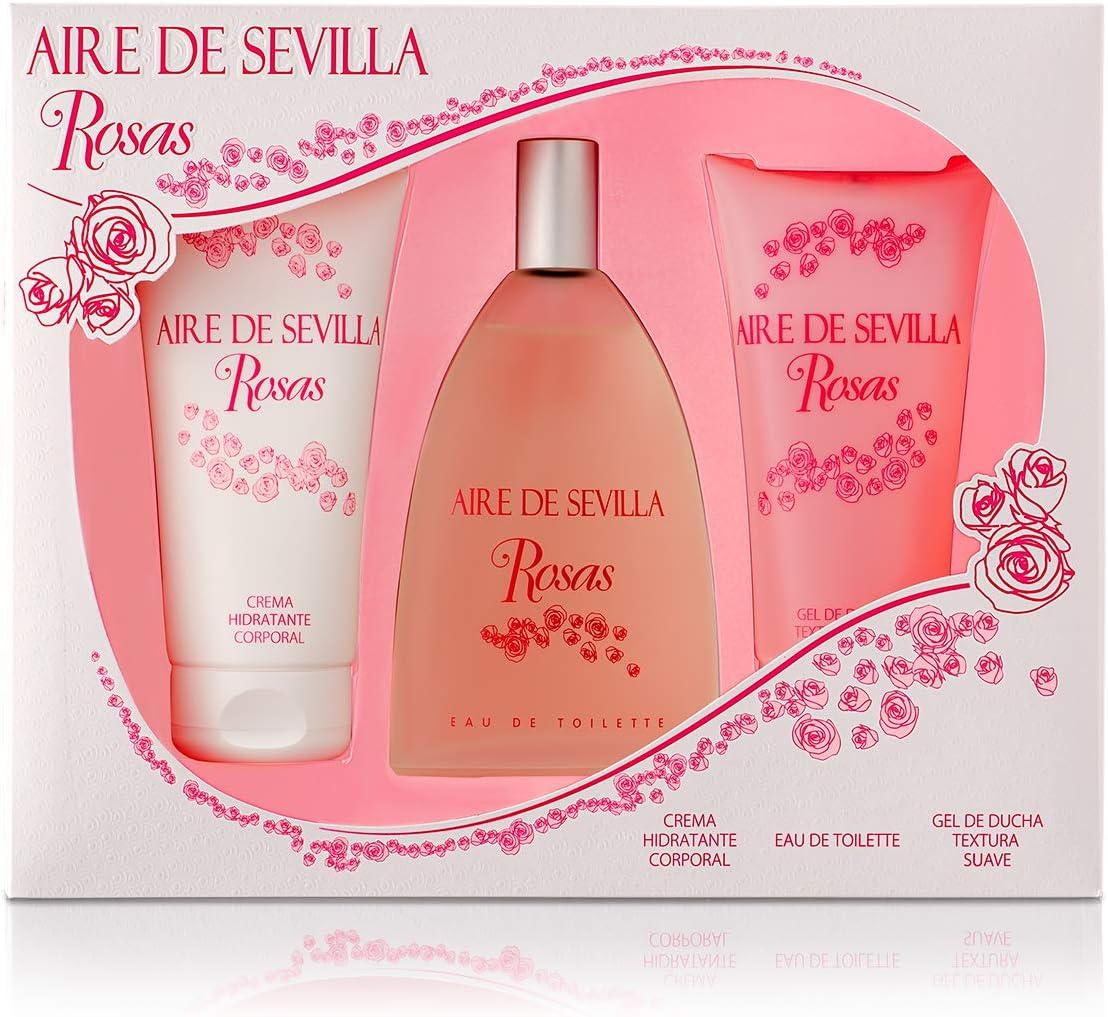 Aire de Sevilla Set de Belleza Edición Rosas - Crema Hidratante Corporal, Eau de Toilette, Gel Exfoliante: Amazon.es: Belleza
