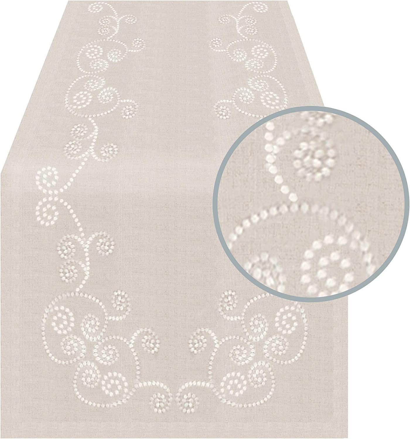 Amazon Com Swirl Embroidered Table Runner 16 X72 Oblong Natural Home Kitchen