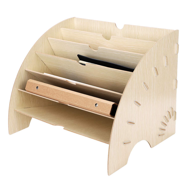 libri riviste, Organizzatore per documenti e posacenere in legno di pino per carta per ufficio A4 beige 6 scomparti documenti casa
