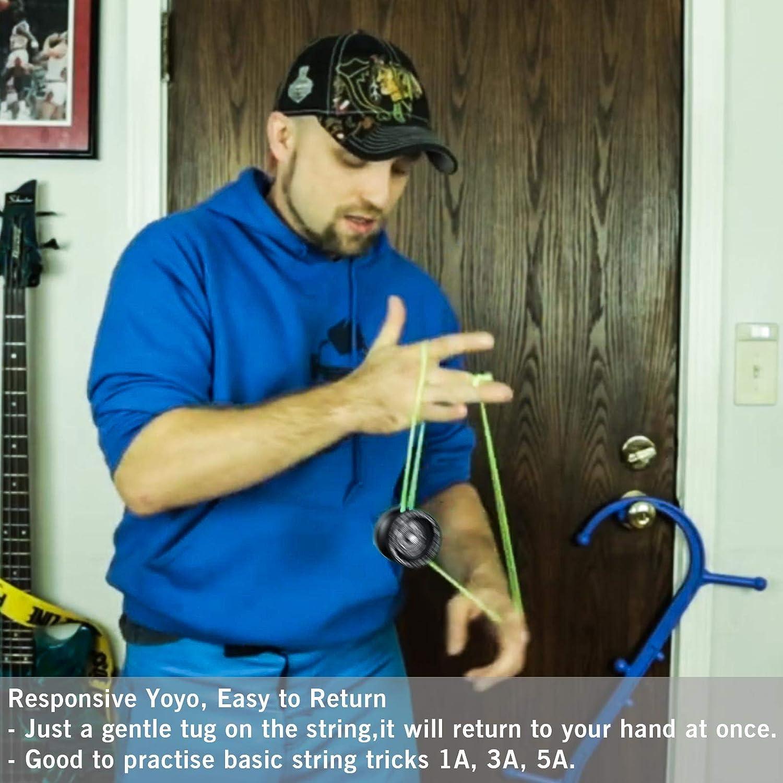 Black Yo Yo Glove Metal Responsive Yoyo for Adults with Flat Bearing Yo-yo Holster Bonus 5 Yoyo Strings YOSTAR MAGICYOYO T7 Beginner Yoyo for Kids Easy to Return and Practise String Tricks