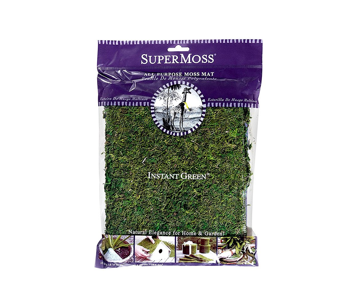 Mozlly Multipack - Super Moss Instant Green All Purpose Moss Mat - 18 x 16 inch - Bagged - Natural Elegance for Home and Garden - Arts and Crafts (Pack of 3)
