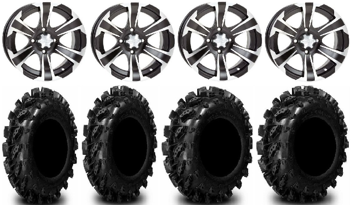 Bundle - 9 Items: ITP SS312 12'' Wheels Black 26'' Swamp Lite Tires [4x110 Bolt Pattern 10mmx1.25 Lug Kit]