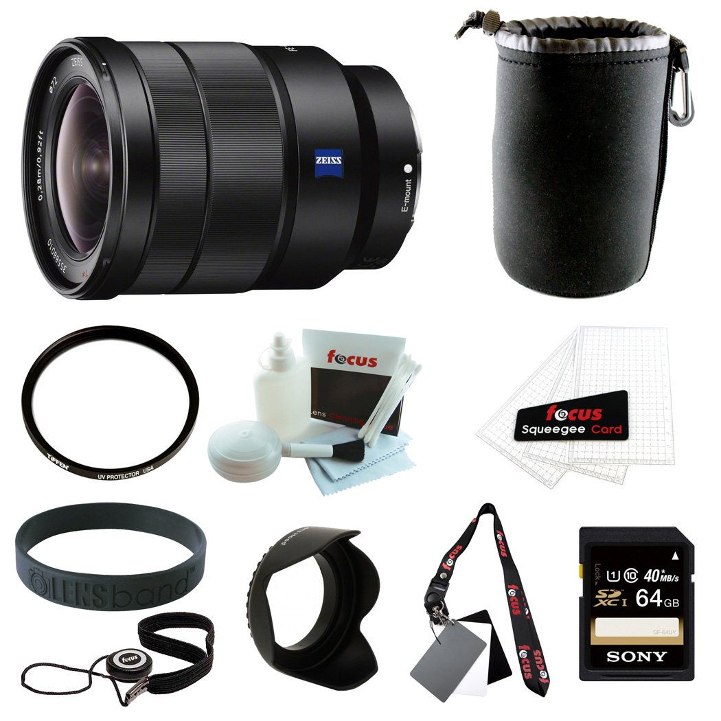 Sony SEL1635Z Vario-Tessar T FE 16-35mm F4 ZA OSS Wide Angle Zoom Lens with Sony 64GB SDCX Memory Card + Deluxe Accessory Bundle by Sony
