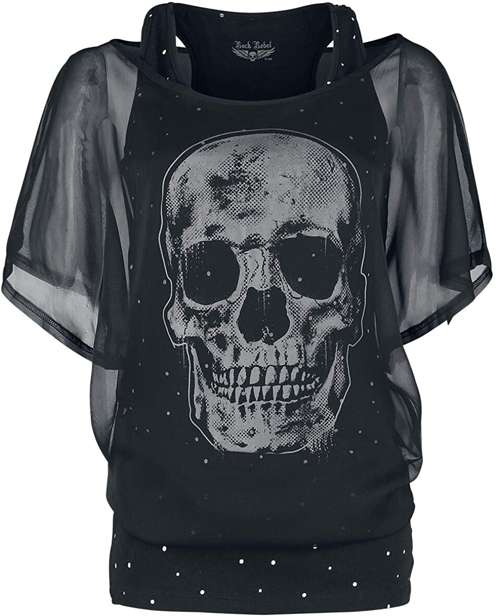 Rock Rebel by EMP When The Heart Rules The Mind Mujer Camiseta Negro, Regular: Amazon.es: Ropa y accesorios