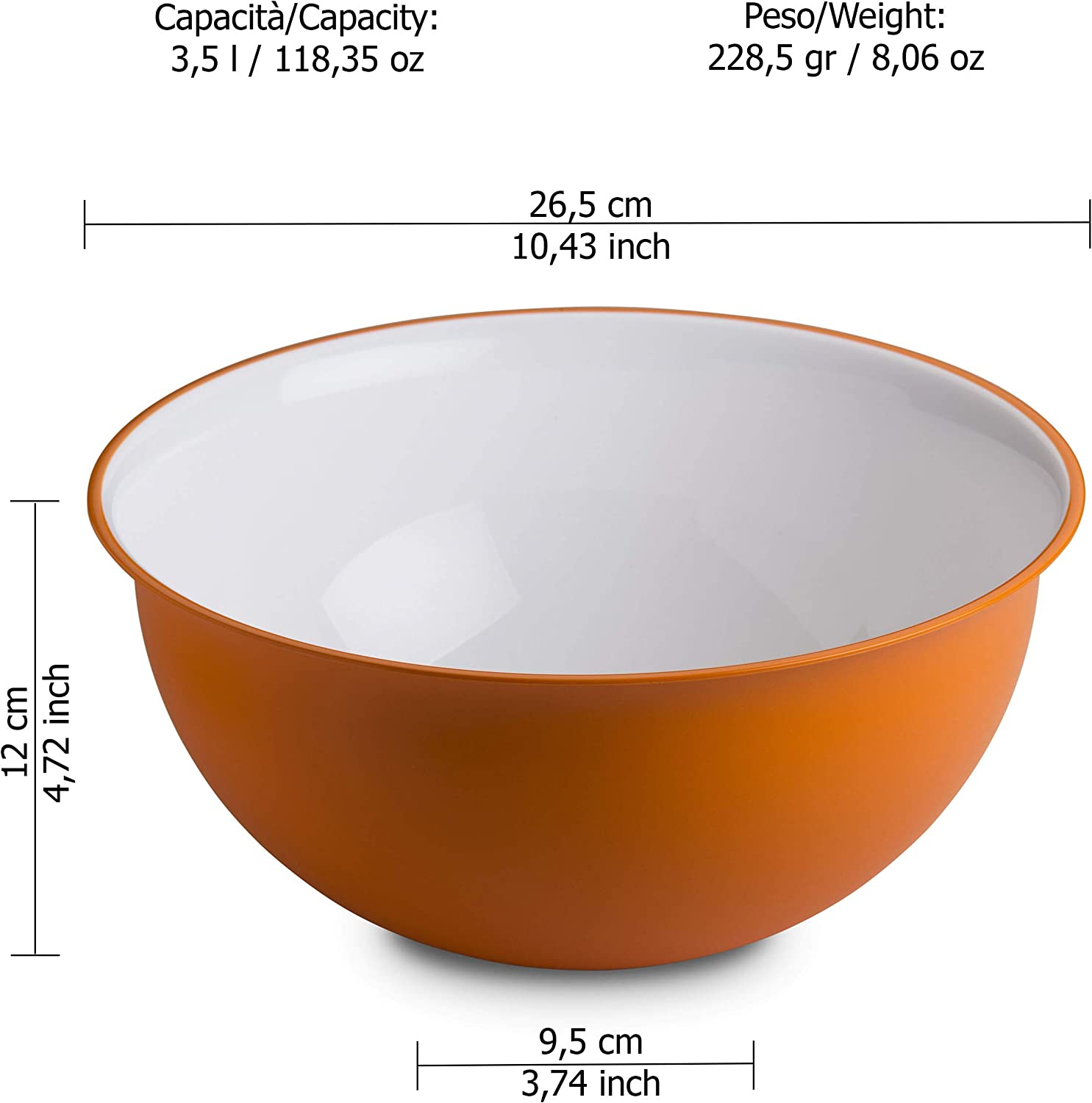 Sanaliving Line in Polypropylene and Antibacterial microban Diameter 12,60 inch White Inside and Colored Outside Omada Design Bowl of 228,77 fl oz