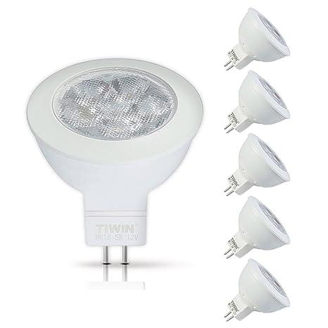 5xNUEVA TIWIN GU5.3/MR16 LED Bombilla Lámpara Luz blanco frío 5W /A+ / igual a Halógena de 50W /400 lumen /5700K /36 grados /SMD 2835 reflector