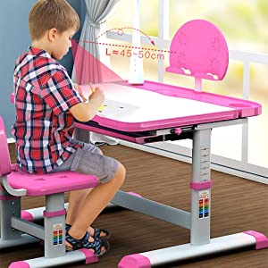 Ohvivid Kids Desk and Chair Set, Height Adjustable Children Study Table Study Table Multifunctional School Students Writing Drawing Desk Pull-Out Drawer Storage and Touch Led for School Students Pink