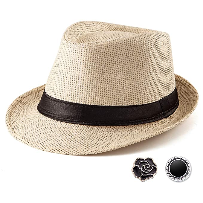 3ed3e47e Beach Straw Sun Hat Women - Beige Hat for Men Summer Casual Fedora Hat with  Band