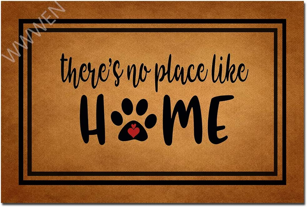 "MOMOBO Funny Doormat with Rubber Back -There's No Place Like Home Dog Paw Entrance Way Doormat Non Slip Backing Funny Doormat Indoor Outdoor Rug 23.6""(W) X 15.7""(L)"