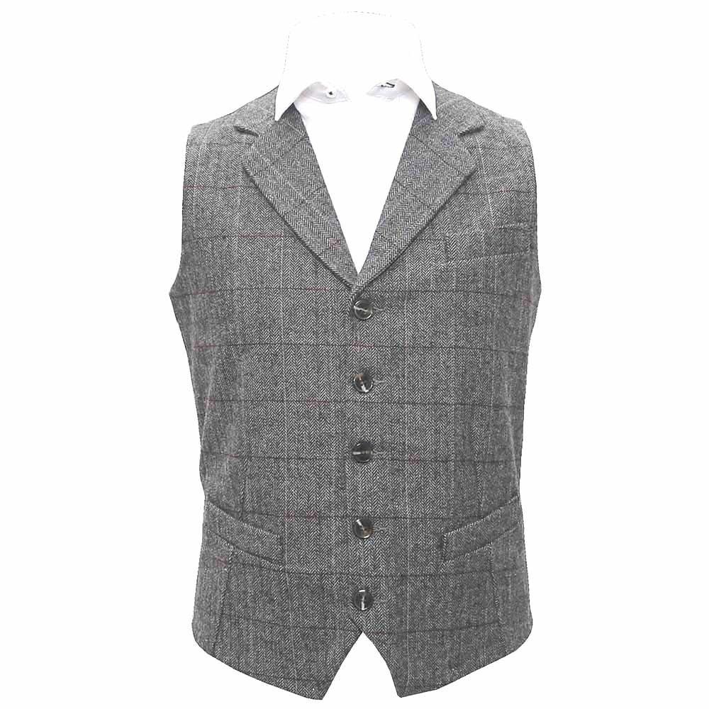 King & Priory Luxury Pewter Grey Herringbone Check Waistcoat with Lapel, Tweed