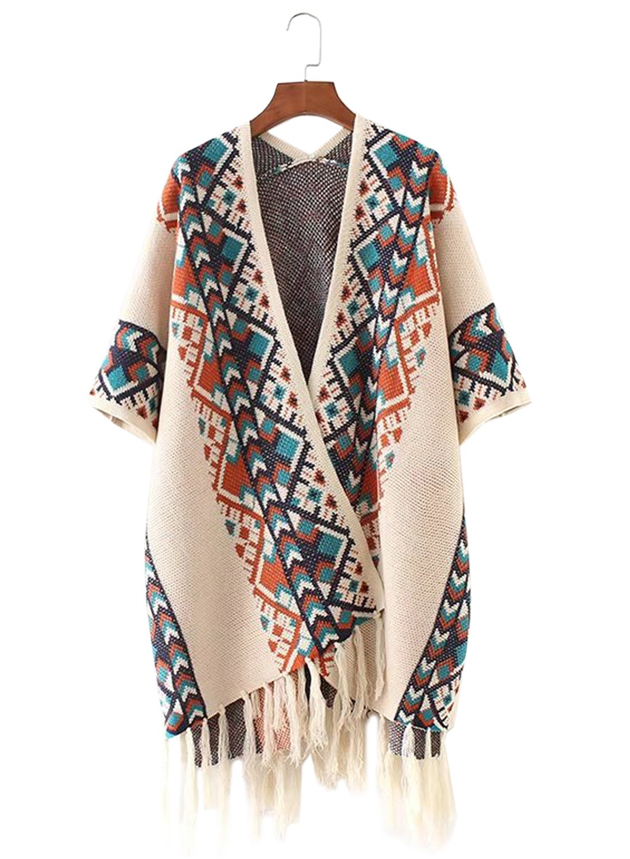 Doballa Women's Aztec Tribal Pattern Fringed Hem Cardigan Coat Wrap Shawl (One Size, Beige)