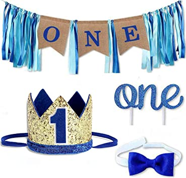 Amazon.com: Baby 1st Birthday Boy Decoraciones con Corona ...