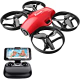 Potensic A30W FPV Drone with Camera, Mini RC Nano Quadcopter with Camera, Auto Hovering, Route Setting, Gravity Induction Mode and 500mAh Detachable Battery (red)