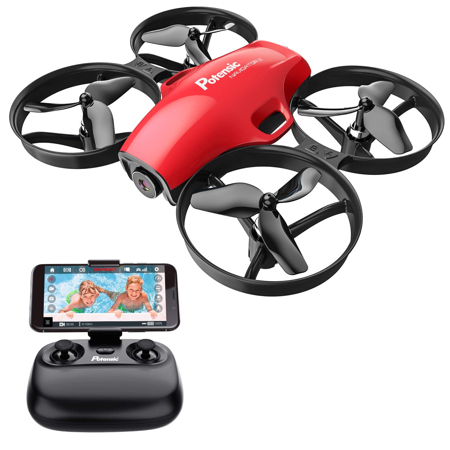 Potensic A30W FPV Drone with Camera, Mini RC Nano Quadcopter with Camera, Auto Hovering, Route Setting, Gravity Induction Mode and 500mAh Detachable Battery (red) by Potensic