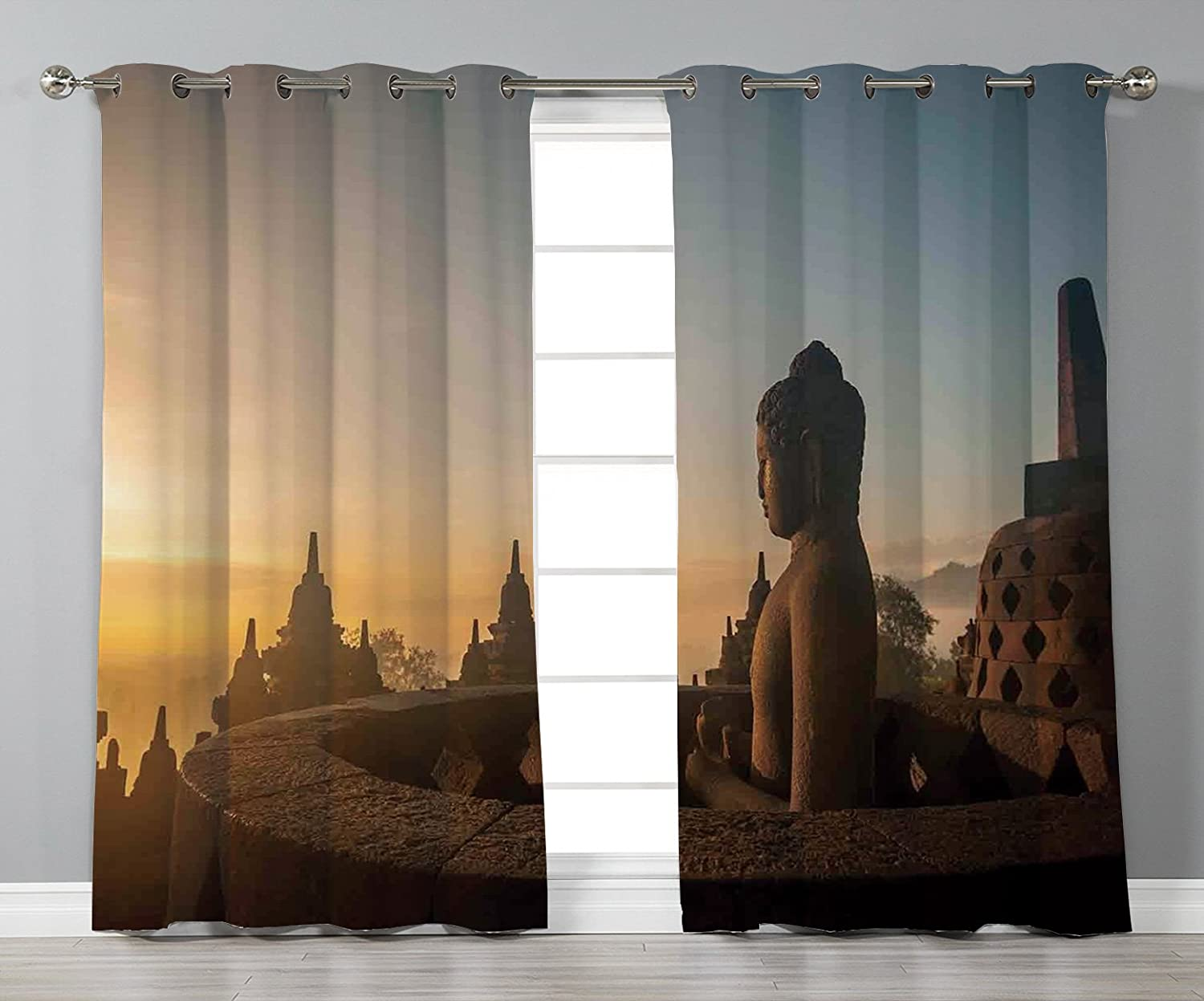 Stylish Window Curtains,Asian Decor,Religious Temple in Indian Sunrise  Ancient Architecture Mystic Style Ceremony Picture Wall Art,Multi,2 Panel  Set Window ...