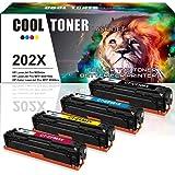 Cool Toner 4 Pack Compatible HP 202A 202X CF500X MFP M281fdw M254dw Toner Cartridge for HP LaserJet Pro MFP M281cdw M281fdn M254nw M254dn M280 M254dw M281fdw Printer Ink(CF500X CF501X CF502X CF503X)