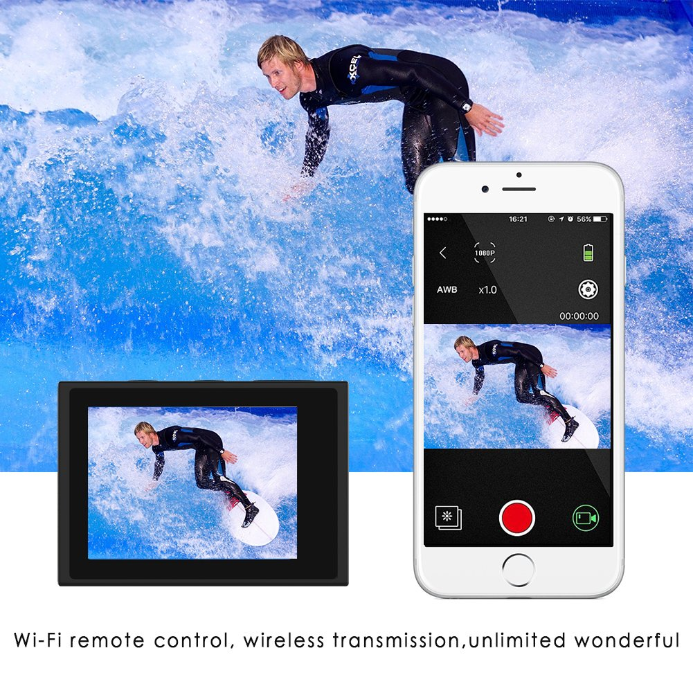 CrazyFire EIS Action Camera 4K 16.0MP HD Waterproof DV Camcorder-170 Degree Wide Angel Wifi and 2.4G Sport Camera with Dual Mic and Travel Bag Include Mounting Accessories Kit by CrazyFire (Image #4)