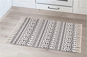 Farmhouse Boho Throw Rug for Kitchen, Bath, Bedroom, Entry, and Laundry Room. 2x3 Geometric Decor Accent Rug in Durable Washable Cotton Blend Material.
