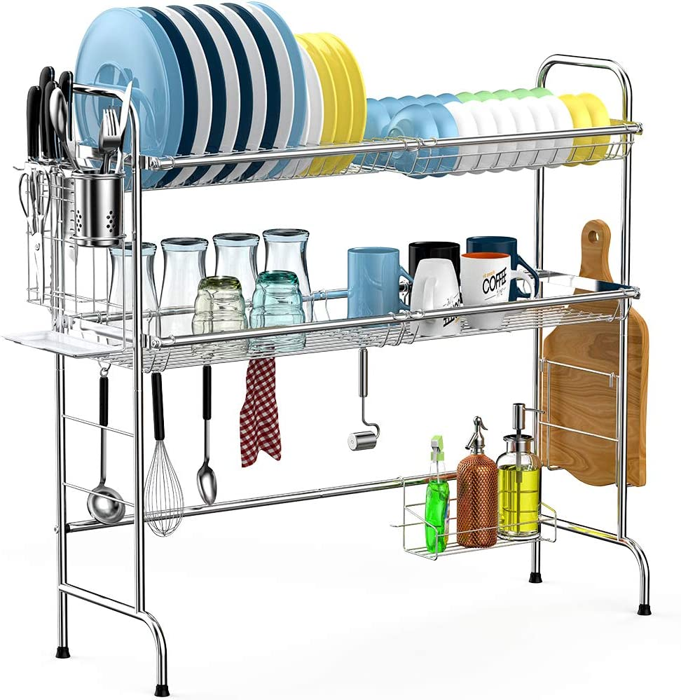 Over the Sink Dish Drying Rack, Cambond 2 Tier Dish Drainer Shelf Stainless Steel Large Dish Rack with Utensils Holder for Kitchen Counter, Silver