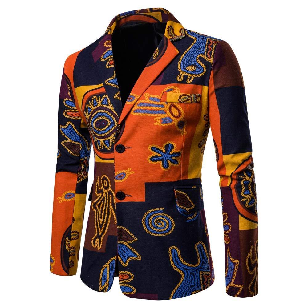 Theshy Printed Men's Fashion Dashiki Cardigan Jacket Long Sleeve Printed Coat