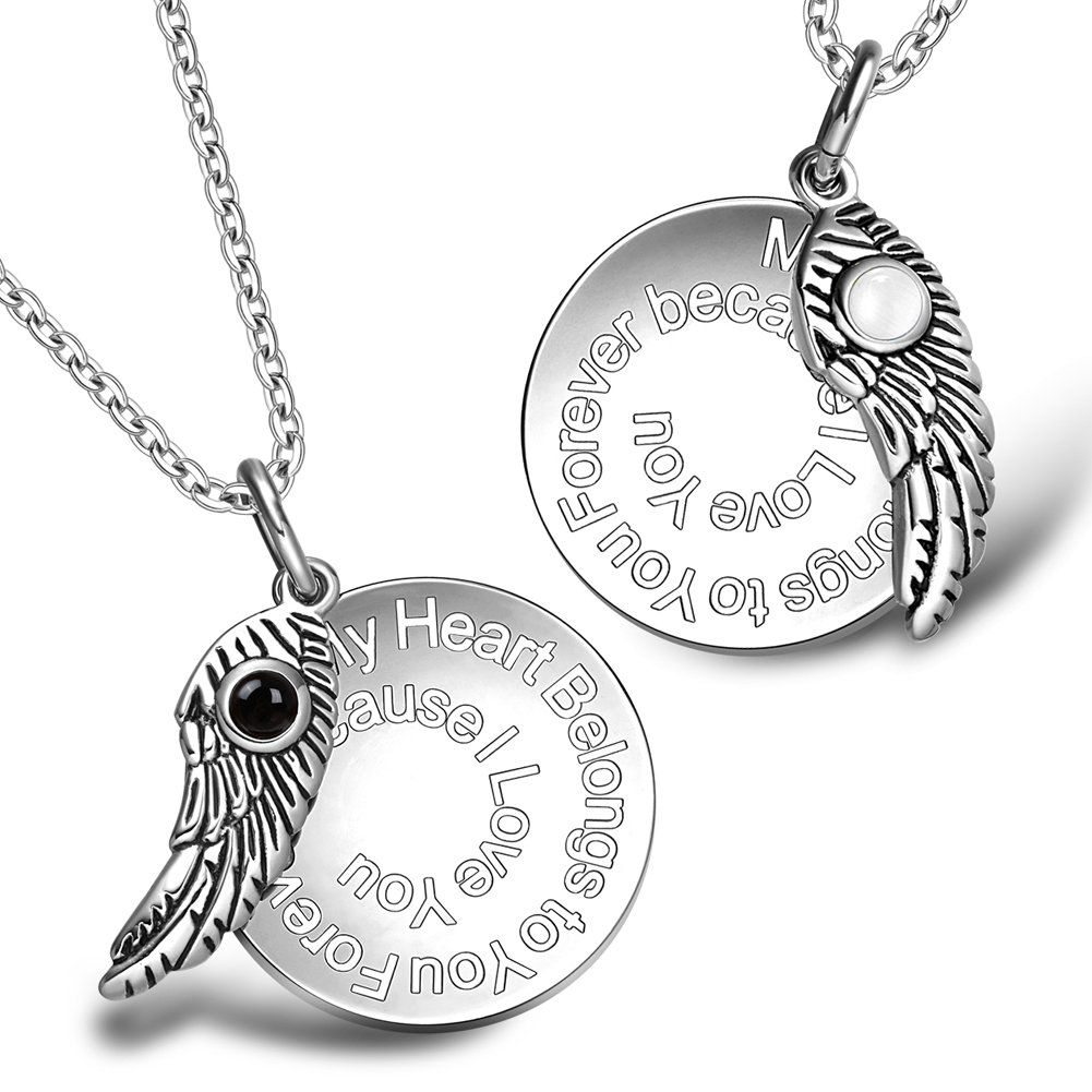 My Heart Belongs to You Forever Wing Couples Set Simulated Onyx White Simulated Cats Eye Necklaces