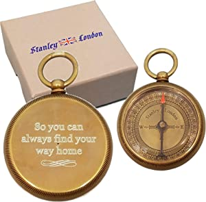 Stanley London Personalized Antique Open Faced Pocket Compass Gifts Engraved - 6 Designs - for Hiking, Graduation, Baptism, Confirmation, Anniversary, Him, Her, Husband, Dad, Son