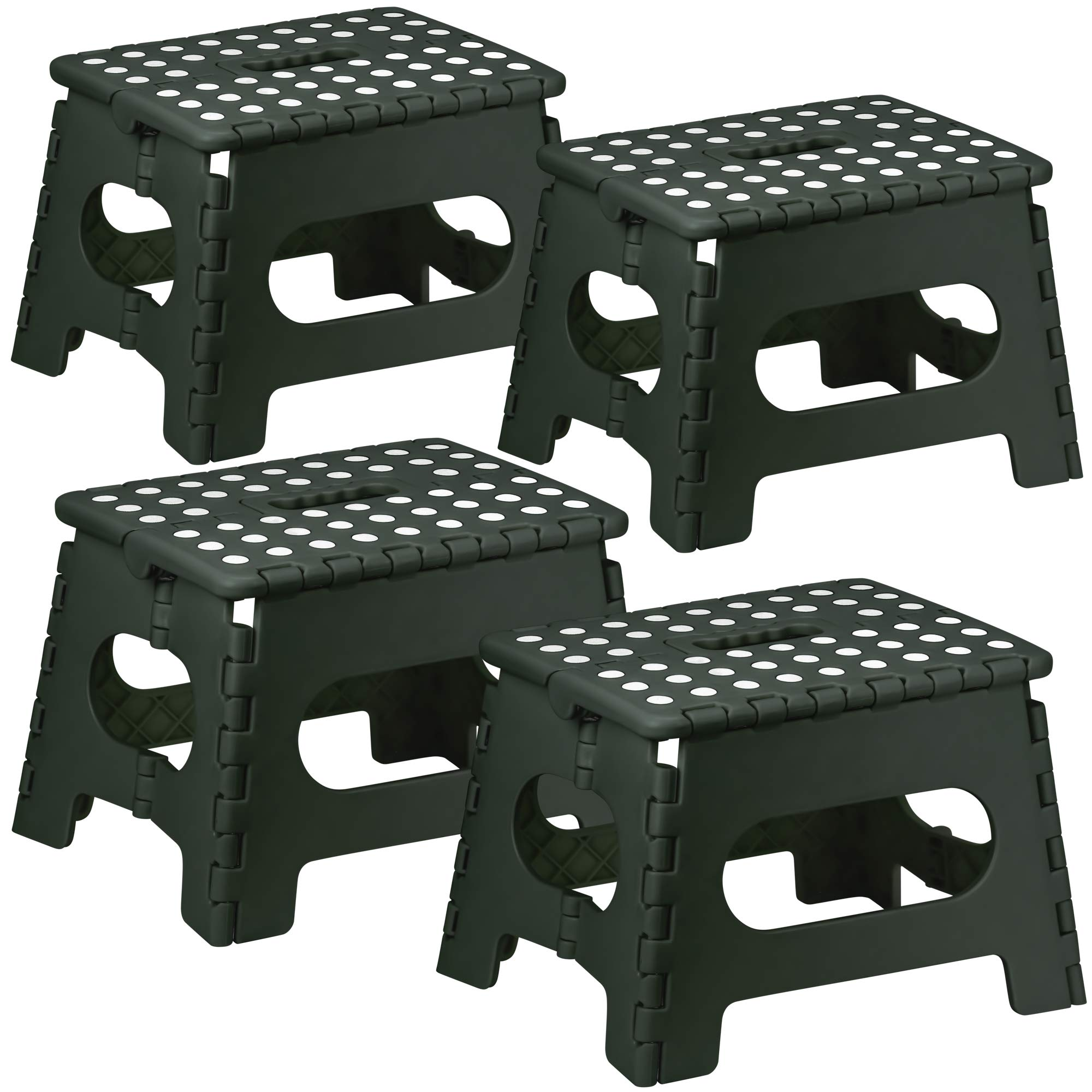 DecorRack 4 Foldable Step Stools with Handle, Heavy Duty Foot Stools for Kids or Adults, Portable, Sturdy, 9 Inches High, Perfect for Bathroom, Bedroom, Kitchen, Non-Slip Platform, Black (4 Pack)
