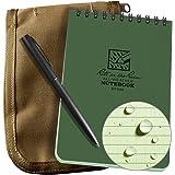"Rite in the Rain Weatherproof 4"" x 6"" Top Spiral Notebook Kit: Tan CORDURA Fabric Cover, 4"" x 6"" Green Notebook, and an Weatherproof Pen (No. 946-KIT)"