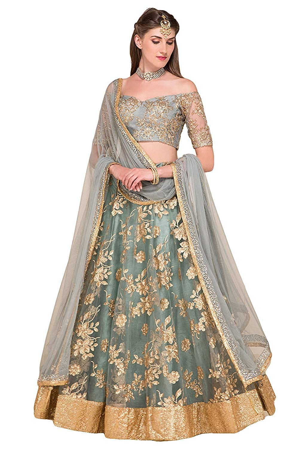 1a554f6f06 Style2Impress women's Embroidered grey colour Semi Stitched lehengas, lehenga  choli: Amazon.in: Clothing & Accessories