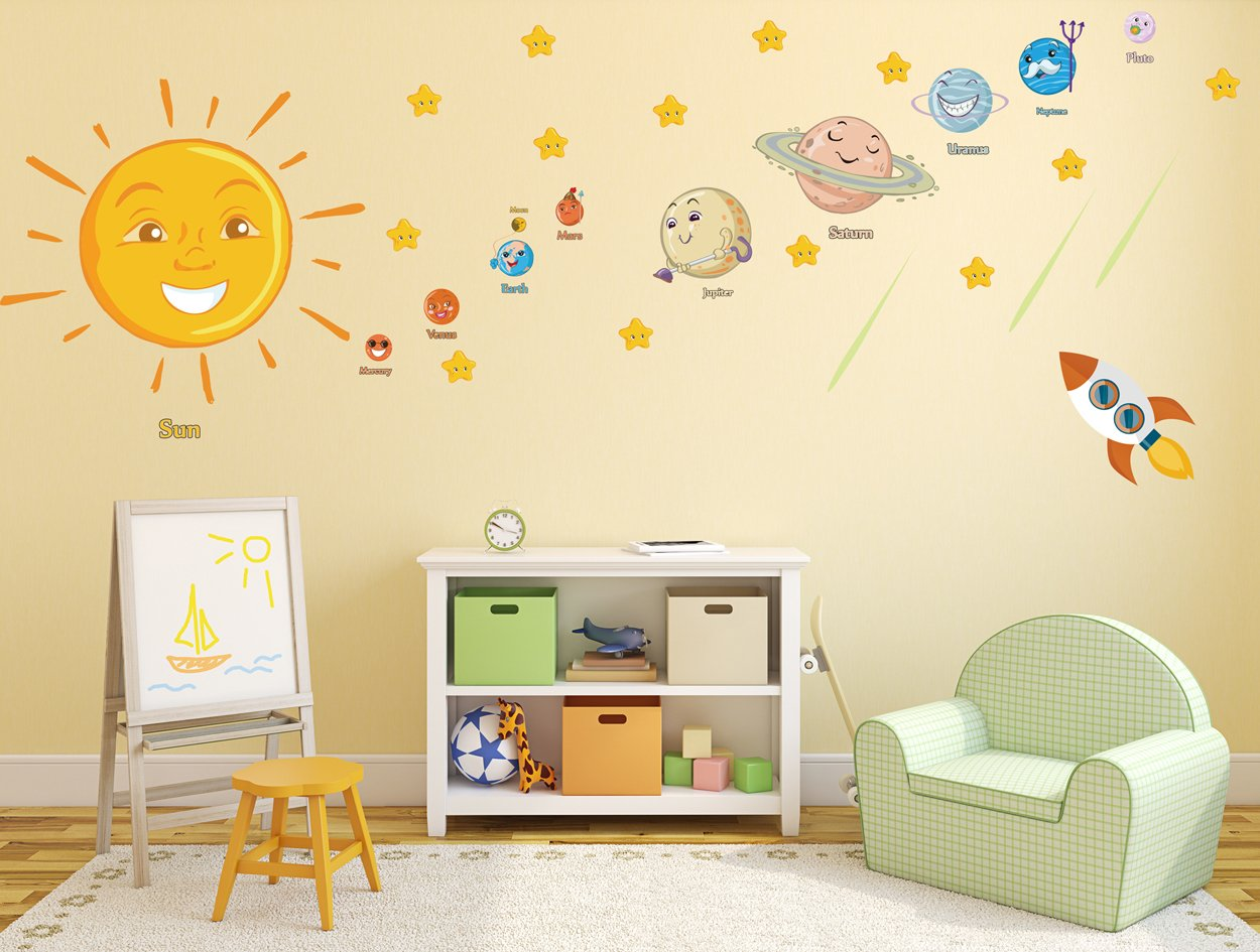 SOLAR SYSTEM Wall Stickers Stars Planets Educational Smiley Colorful ...