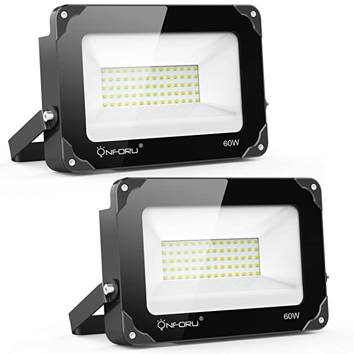 Onforu 2 Pack 60W LED Flood Light, 6000lm Super Bright Security Lights, 5000K Daylight White, IP65 Waterproof Outdoor Landscape Floodlight for Yard, Garden, Playground, Party