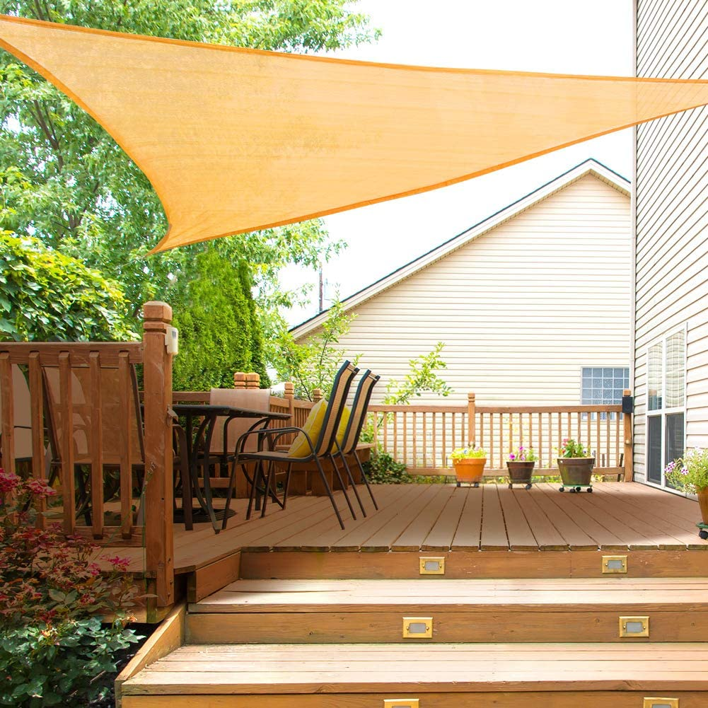 Yosoo Health Gear Toldo Vela de Sombra Triángulo 3, 6x3, 6x3, 6m, 97% de Protección UV y 90% de Tasa de Sombreado, para Patio, Céspede, Jardín, Exteriores, Piscinas, 185 gsm, Color Arena: Amazon.es: Jardín
