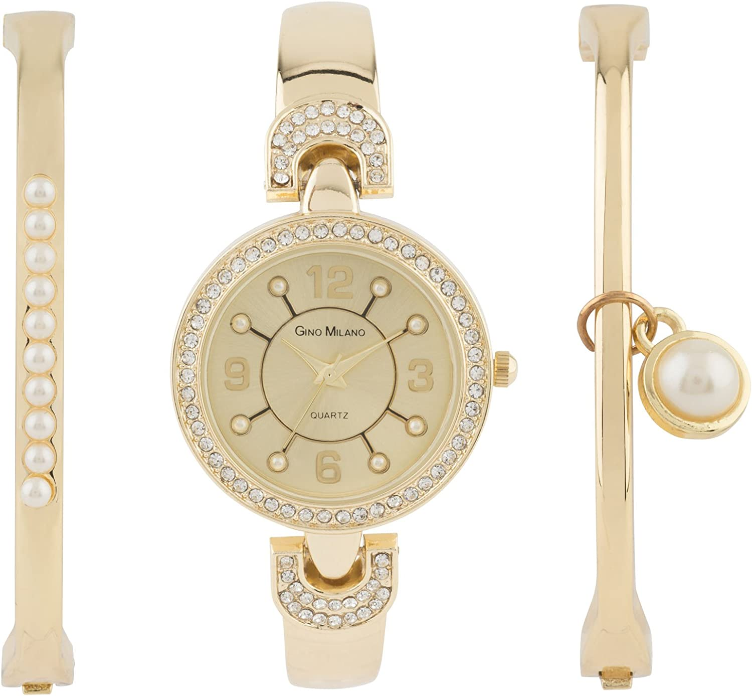 Ladies Gold Watch with Matching Pearl Bracelets Gift Set