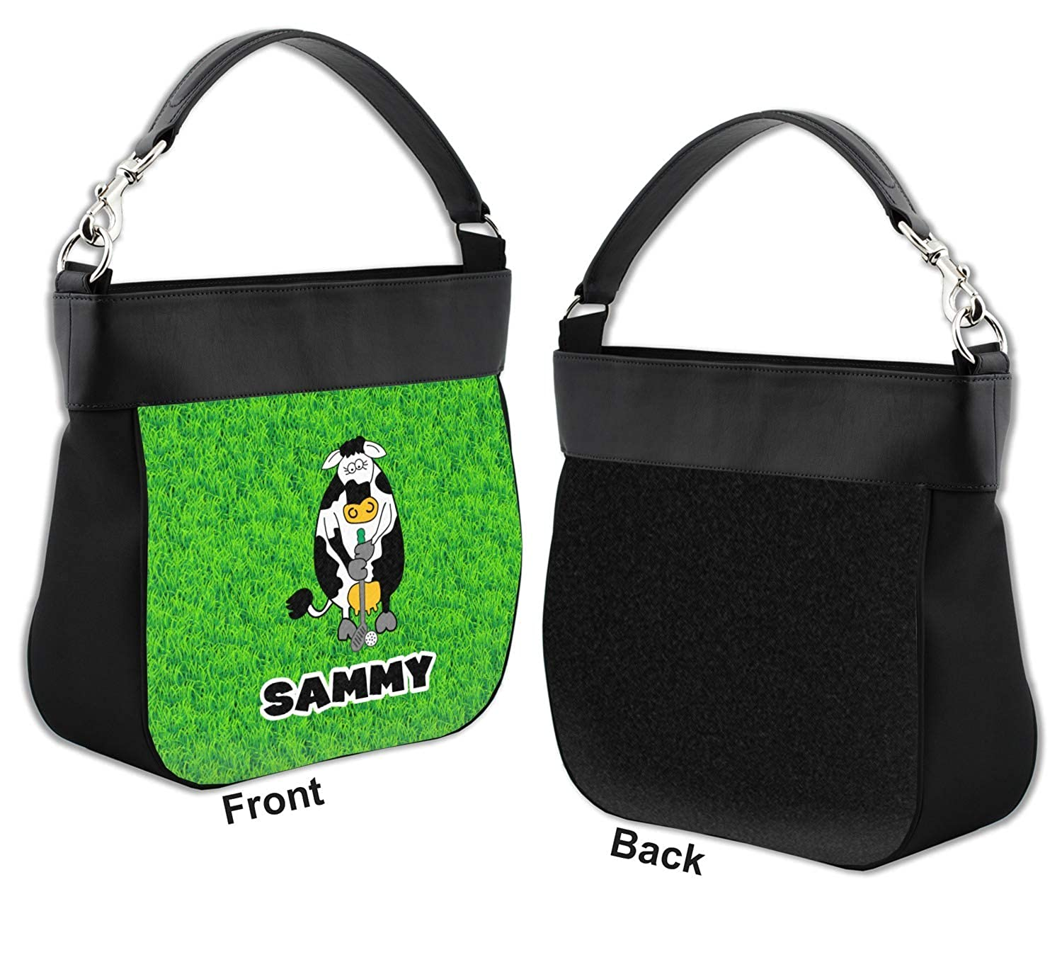 Personalized Cow Golfer Hobo Purse w//Genuine Leather Trim Front
