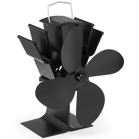 NETTA Ventilador de 4 aspas para estufa de leña o chimenea - Respetuoso con el medio ambiente