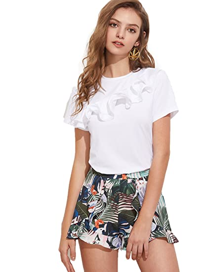 62e35b5150bb2 Romwe Women s Elegant Ruffle One Shoulder Clubwear Short Sleeve T-Shirt  Tops White  Small