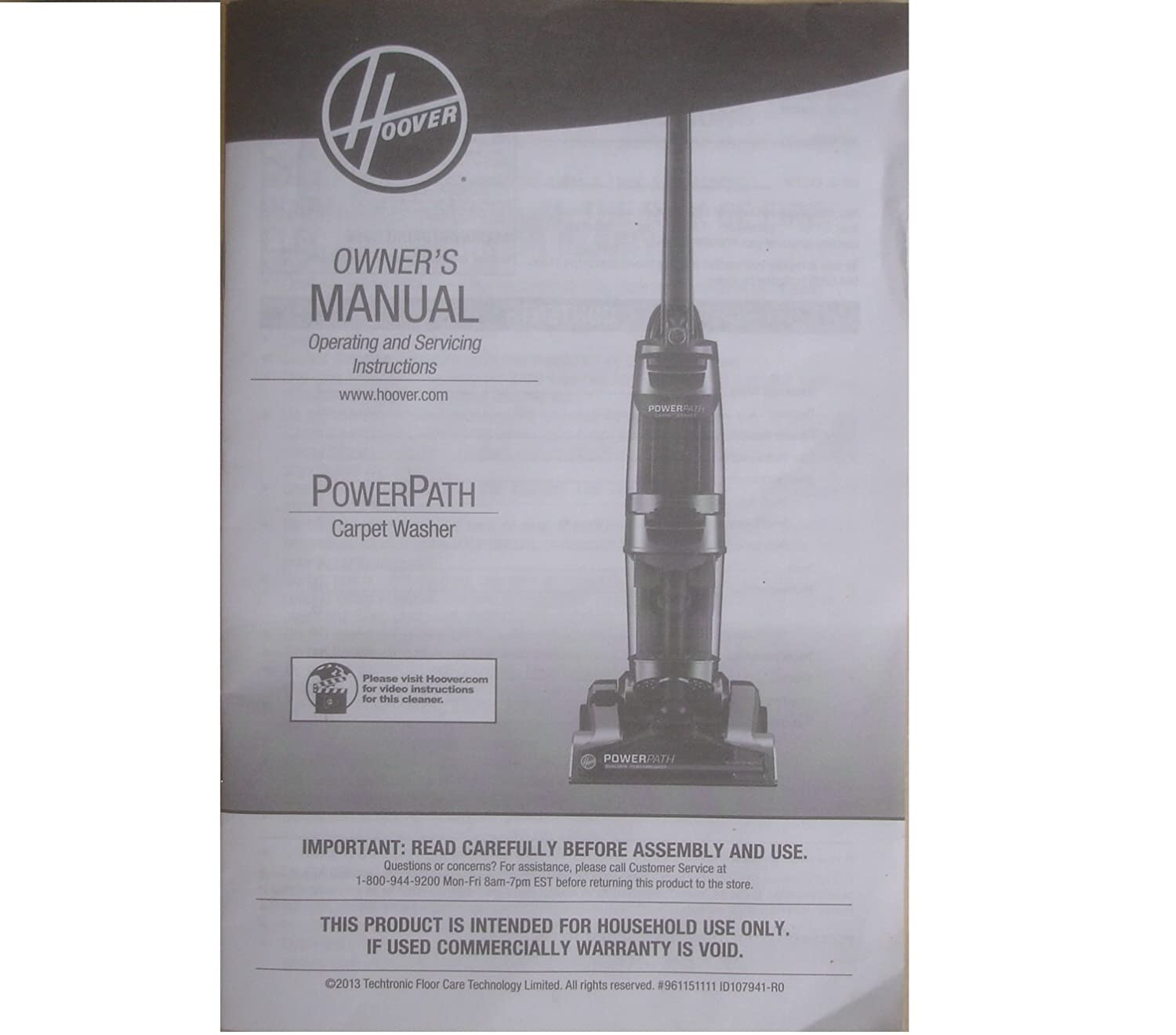Amazon Hoover Power Path Carpet Washer Fh50950 Owners Manual