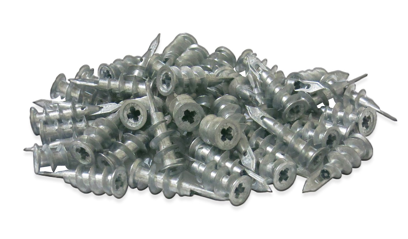 #1 Best Quality Zinc Self Drilling Drywall Anchors with Screws Kit 100 Pieces All Together