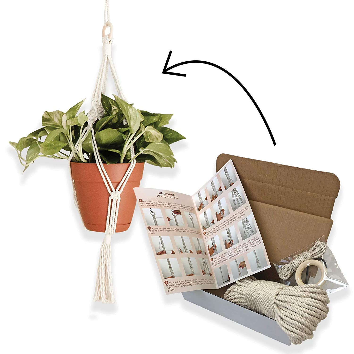 Amazon Com Sitos Plant Hanger Materials Kit Diy Pot Holder Craft Kits Macrame Hanging Planter Handmade Plant Stand Home Activities For The Entire Family Handmade