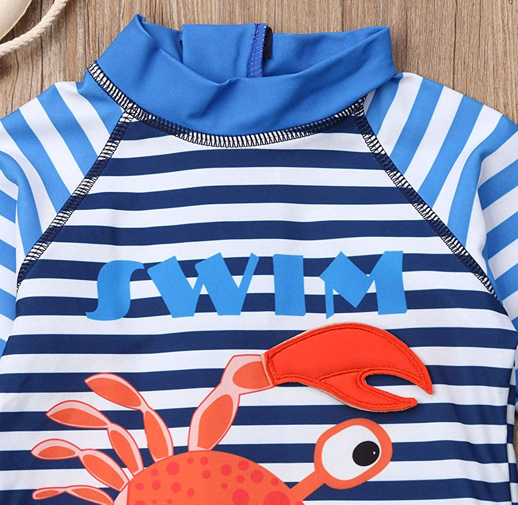 Lzxuan Kids Baby Boys Girls Crab One-Pieces Rash Guard Half Sleeve Swimsuit Sun Protection Bathing Suit Beach wear