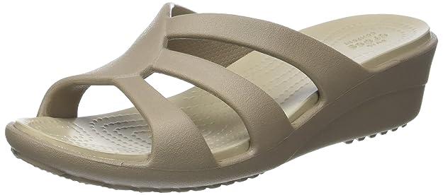 Crocs Sanrah Strappy, Zuecos para Mujer, Beige (Mushroom/Cobblestone), 33-34 EU
