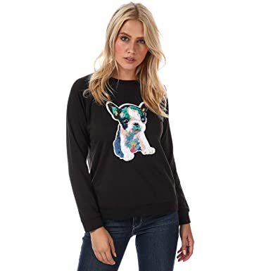 b39ee7422e Brave Soul Womens Sweatshirt with Patchwork Dog in Black  Brave Soul   Amazon.co.uk  Clothing
